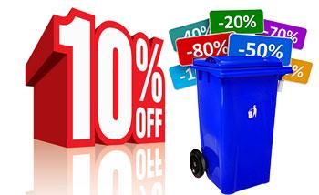 تخفیف ویژه در خریدهای تعداد بالا سطل زباله 360 لیتری چرخدار