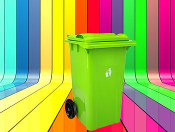 رنگبندی محصول سطل زباله 360 لیتری چرخدار