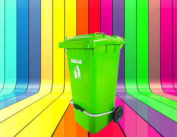 رنگبندی محصول سطل زباله پدالدار 100 لیتری