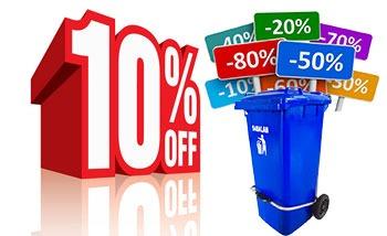 تخفیف ویژه در خریدهای تعداد بالا سطل زباله پدالدار 100 لیتری